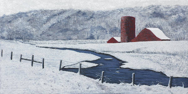 Arkansas Poster featuring the painting Buffalo River Valley In Snow by Garry McMichael