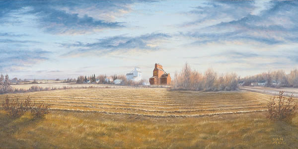 Landscapes Paintings Poster featuring the painting Harvest Sunrise by Dan Reid
