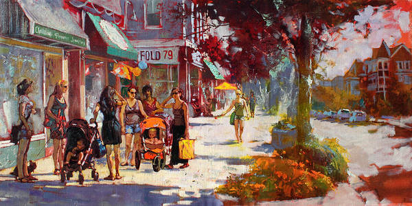 Landscape Poster featuring the painting Small Talk In Elmwood Ave by Ylli Haruni