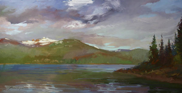 Murals Poster featuring the painting Chimney Rock At Priest Lake Plein Air by Betty Jean Billups