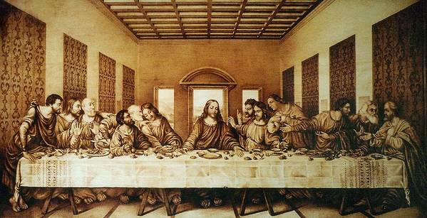 Dino Muradian Poster featuring the pyrography The Last Supper by Dino Muradian
