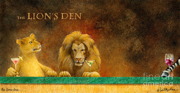 Will Bullas Poster featuring the painting The Lion's Den... by Will Bullas