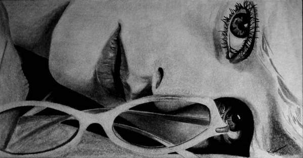 Graphite Poster featuring the drawing The Sunglasses Are Chanel by Sean David Wright