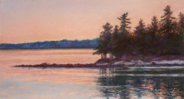 Maine Poster featuring the pastel Sunset Over Emerald Point Lake Sebago Maine  by Denise Horne-Kaplan
