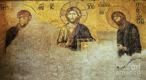 Christian Mosaic Poster featuring the photograph Deesis Mosaic Hagia Sophia-christ Pantocrator-judgement Day by Urft Valley Art