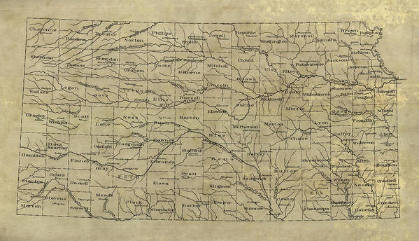 Old Kansas Map.Old Kansas Map 1893 Poster By Blue Monocle