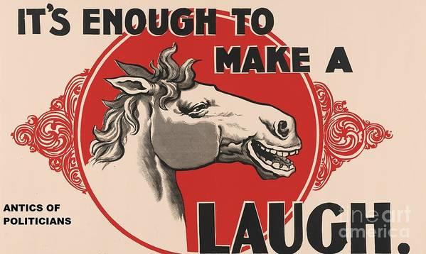 Pd. Reproduction Poster featuring the painting Enough To Make A Horse Laugh by Pg Reproductions