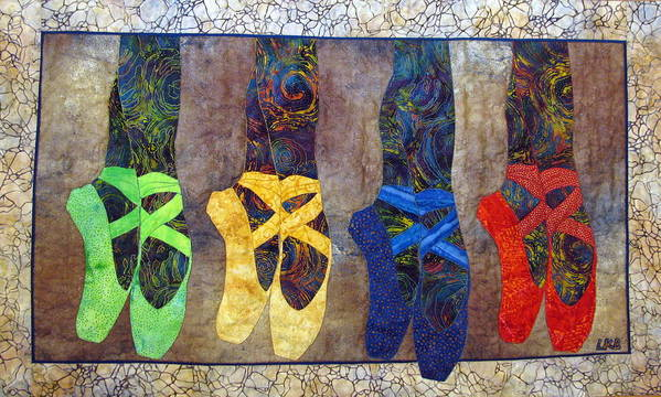 Art Quilts Tapestries Textiles Poster featuring the tapestry - textile Born To Dance by Lynda K Boardman