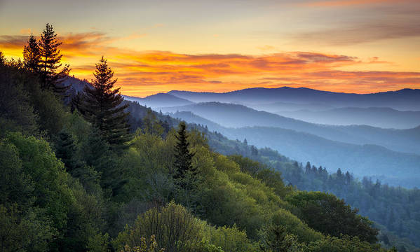 Great Smoky Mountains National Park Poster featuring the photograph Great Smoky Mountains National Park - Morning Haze At Oconaluftee by Dave Allen