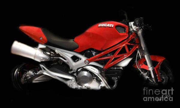 Motorcycles Poster featuring the photograph Ducati Monster In Red by Kimxa Stark
