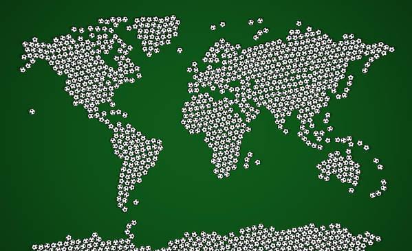 Map Of The World Poster featuring the digital art Football Soccer Balls World Map by Michael Tompsett