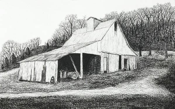 Barn Poster featuring the drawing White Barn On Bluff Road by Garry McMichael