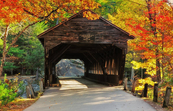 Covered Bridge Poster featuring the photograph A Kancamagus Gem - Albany Covered Bridge Nh by Thomas Schoeller