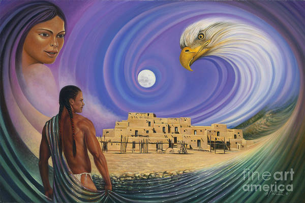 Taos Poster featuring the painting Dynamic Taos I by Ricardo Chavez-Mendez