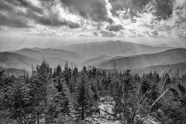 Bw Photography Poster featuring the photograph From Clingmans Dome by Chilehead Photography