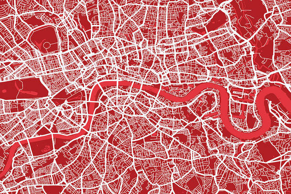 London Poster featuring the digital art London Map Art Red by Michael Tompsett
