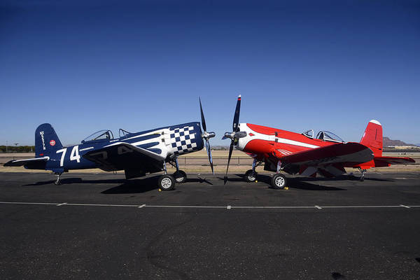 Airplane Poster featuring the photograph Thompson Trophy Goodyear F2g Corsair Reunion Falcon Field Arizona December 27 2011 by Brian Lockett