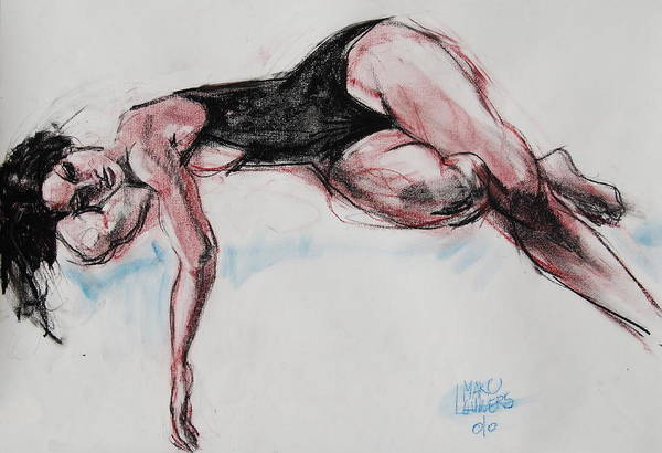 Expressive Figurative Pastel Drawing Poster featuring the drawing Ariel by Marc Lauwers