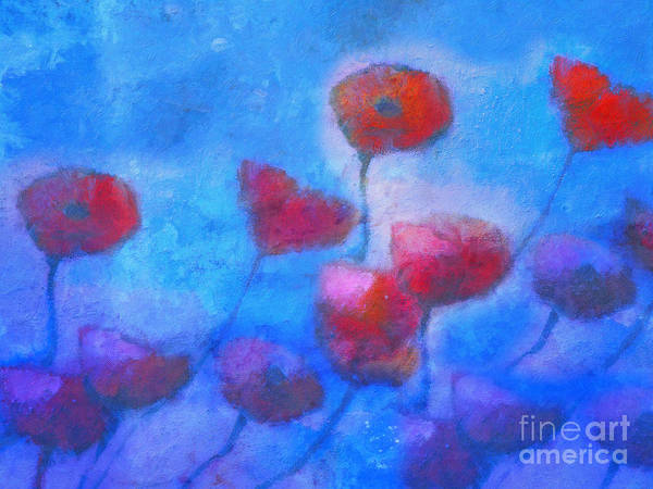 Poppy Poster featuring the painting Poppy Blues by Lutz Baar