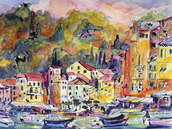Fine Art Poster featuring the painting Portofino Italy by Ginette Callaway