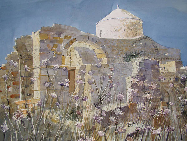 Byzantine Poster featuring the painting Byzantine Monastery Cyprus by Martin Giesen