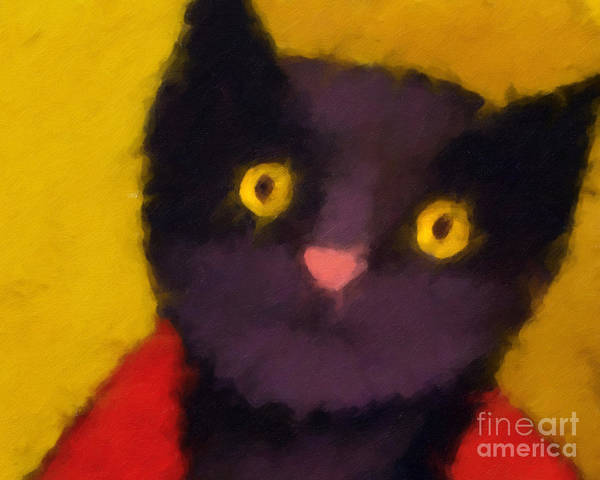 Cats Poster featuring the painting Blacky by Lutz Baar