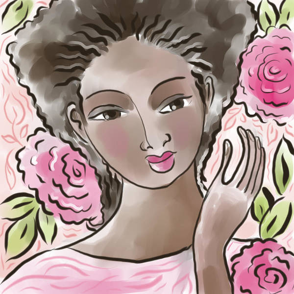 African American Poster featuring the digital art Joy In Flowers by Elaine Jackson