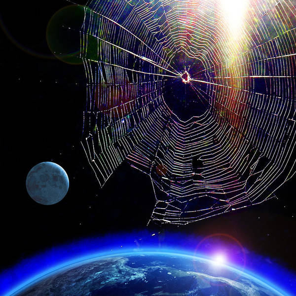 James Temple Poster featuring the photograph Spiders In Space - The Beginning Of The End by James Temple