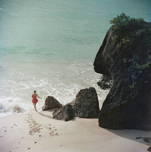 People Poster featuring the photograph Bermuda Beach by Slim Aarons
