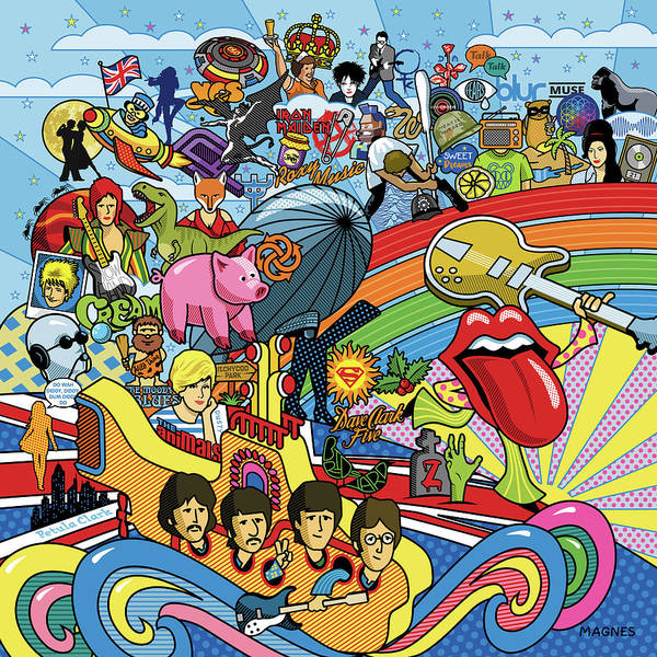 Music Poster featuring the digital art British Invasion 64 by Ron Magnes