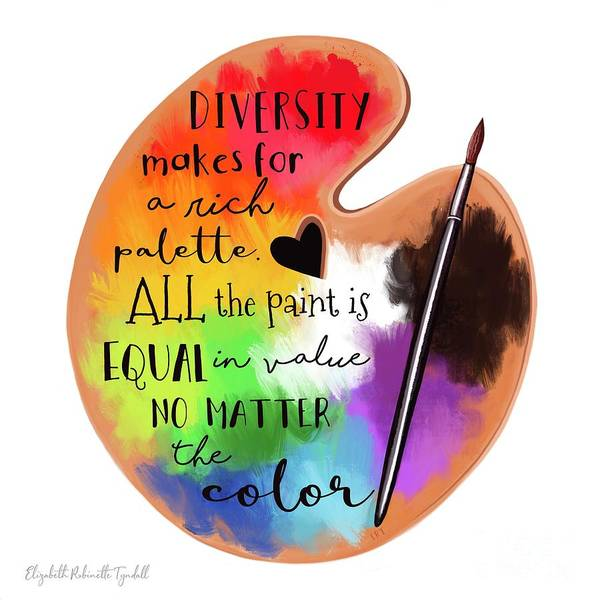 Black Lives Matter - The Colors of Diversity With a White Background by Elizabeth Robinette Tyndall