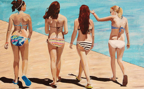Kevin Callahan Poster featuring the painting Jersey Girls Point Pleasant by Kevin Callahan