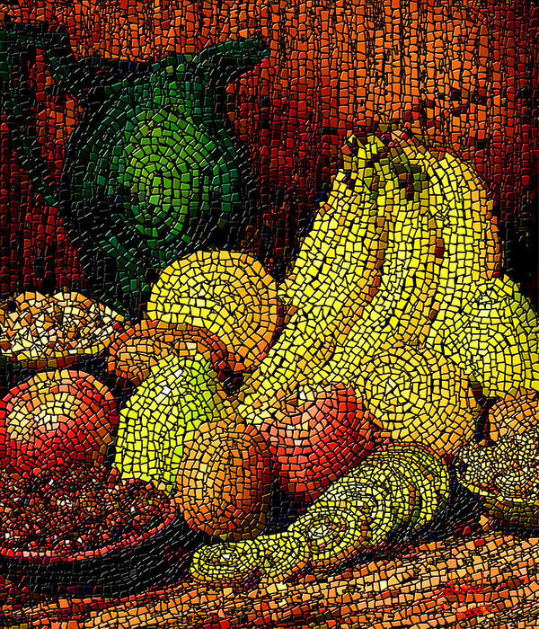 Fruit Poster featuring the digital art Fresh Fruit Tiled by Stephen Lucas