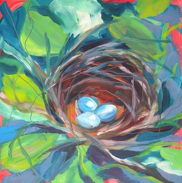 Eggs Poster featuring the painting Nest Of Prosperity 2 by Pam Van Londen