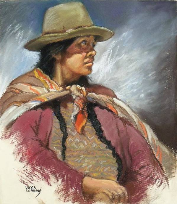 Native Poster featuring the painting Native Peruvian Woman by Oscar Cuadros