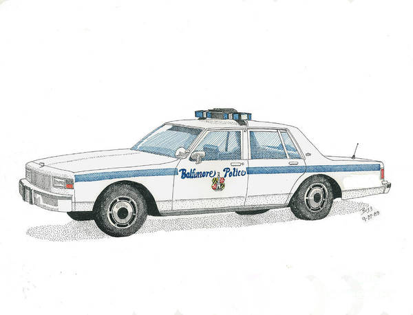 Baltimore Poster featuring the drawing Baltimore City Police Vehicle by Calvert Koerber