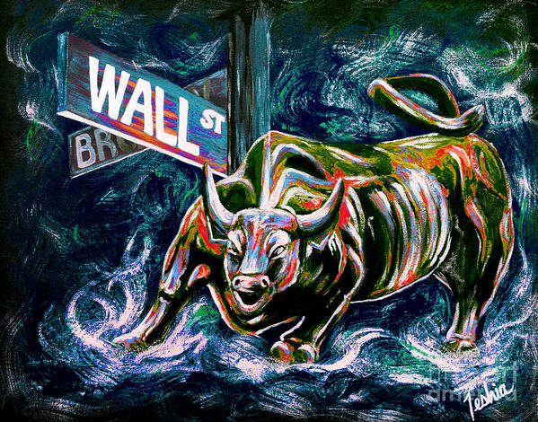 Wall Street Poster featuring the painting Bull Market Night by Teshia Art