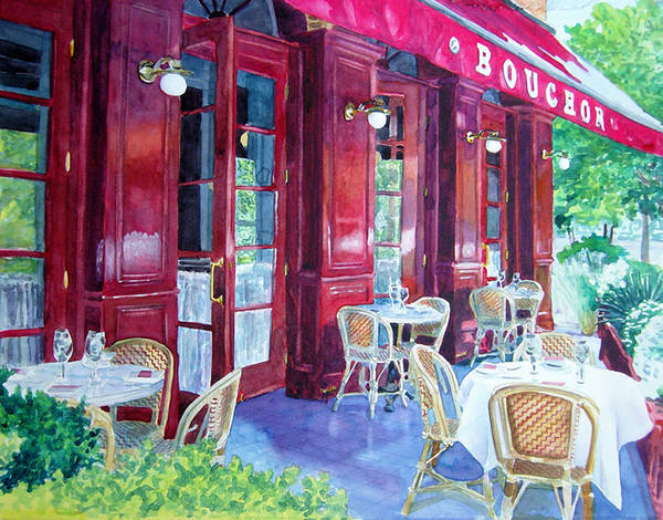 Cityscape Landscape Architecture Wine Country San Francisco Poster featuring the painting Bouchon Restaurant Outside Dining by Gail Chandler