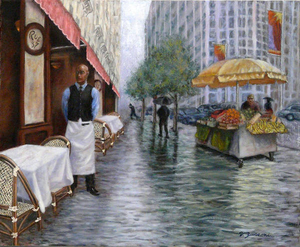 New York City Cafe Street Scene Poster featuring the painting Shower On Sixth Avenue by Victor Zucconi