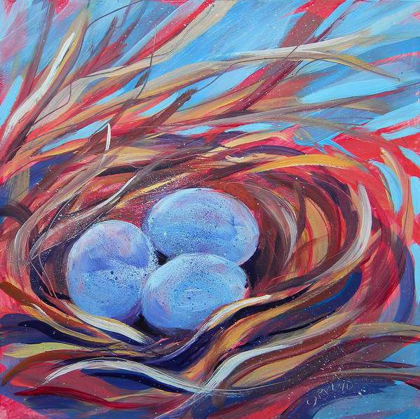 Eggs Poster featuring the painting Nest Of Prosperity 3 by Pam Van Londen