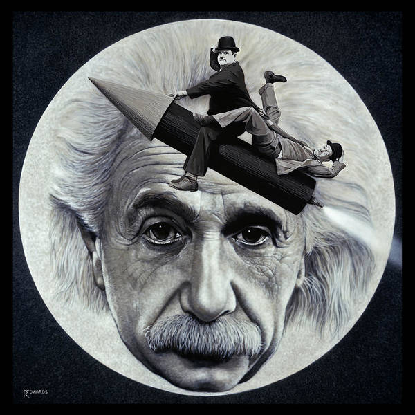 Einstein Poster featuring the painting Scientific Comedy by Ross Edwards