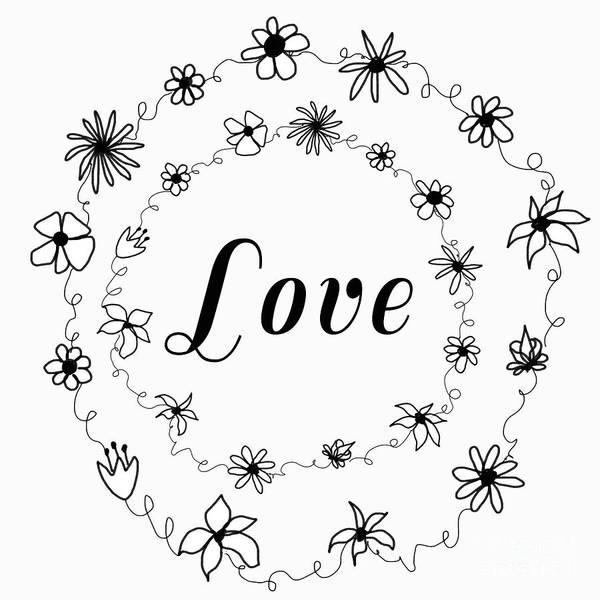 Love Art Poster featuring the painting Graphic Black And White Flower Ring Of Love by Irene Irene