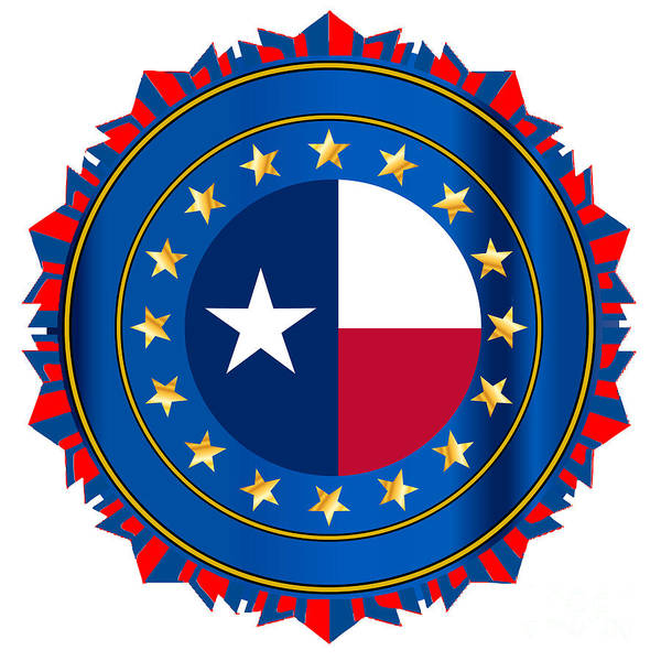 Texas State Flag As A Badge Over White by Bigalbaloo Stock