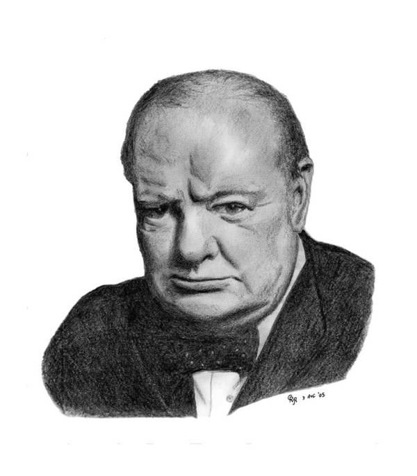 Churchill Poster featuring the drawing Winston Churchill by Charles Vogan