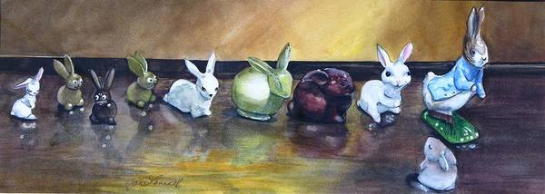 Rabbits Poster featuring the painting March Hares by Jane Loveall