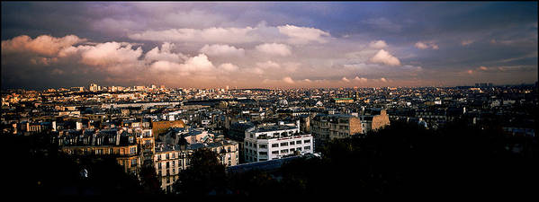Paris Montmartre Poster featuring the pyrography Panoramic Paris Sky. by Cyril Jayant