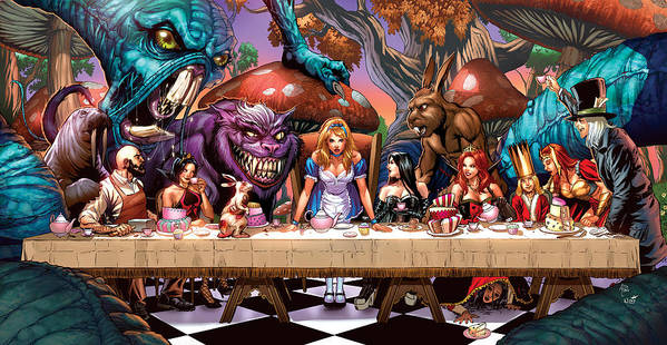 Grimm Fairy Tales Poster featuring the drawing Alice In Wonderland 06a by Zenescope Entertainment