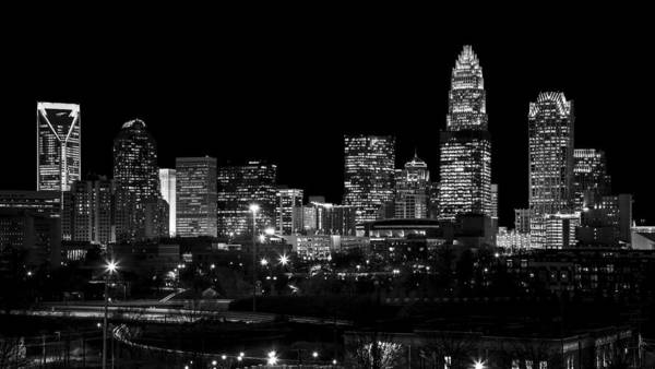 Charlotte Poster featuring the photograph Charlotte Night V2 by Chris Austin