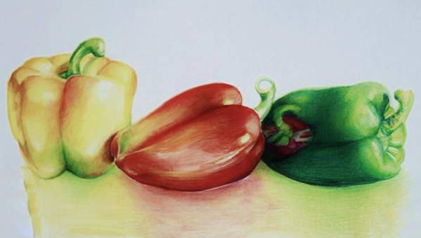 Peppers Poster featuring the drawing Three Peppers by Jean Cormier