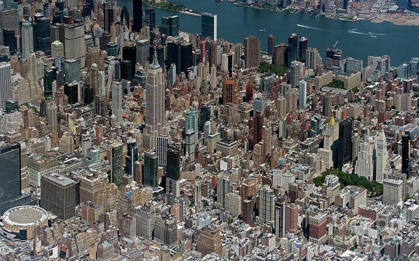 Midtown Poster featuring the photograph Midtown East Manhattan Skyline Aerial  by David Oppenheimer
